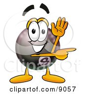 Clipart Picture Of An Eight Ball Mascot Cartoon Character Waving And Pointing by Toons4Biz