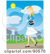 Royalty Free RF Clipart Illustration Of A Caucasian Woman With A Purse Walking Through A Neighborhood by Rosie Piter