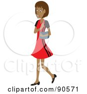 Royalty Free RF Clipart Illustration Of A Hispanic Woman Walking With A Purse On Her Shoulder by Rosie Piter