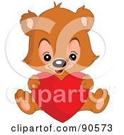 Royalty Free RF Clipart Illustration Of A Teddy Bear Sitting And Holding A Big Red Heart by yayayoyo