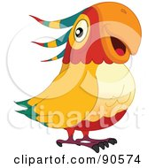 Royalty Free RF Clipart Illustration Of A Cute Parrot With An Orange Beak by yayayoyo