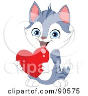 Royalty Free RF Clipart Illustration Of A Cute Gray Kitten Holding A Red Heart by yayayoyo