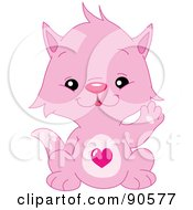 Royalty Free RF Clipart Illustration Of A Cute Pink Kitten With A Heart Belly