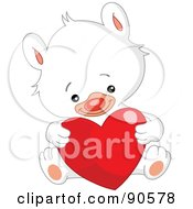 Royalty Free RF Clipart Illustration Of A Cute White Teddy Bear Sitting And Holding A Shiny Heart by yayayoyo