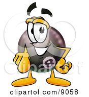 Clipart Picture Of An Eight Ball Mascot Cartoon Character Pointing At The Viewer by Toons4Biz