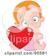 Royalty Free RF Clipart Illustration Of A Cute Baby Sucking Her Thumb And Holding A Heart