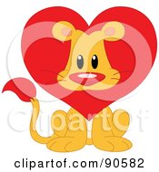 Royalty Free RF Clipart Illustration Of A Cute Lion Valentine With A Heart Mane by yayayoyo