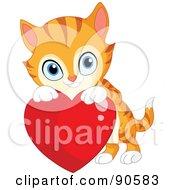 Cute Orange Kitten Looking Over A Red Heart