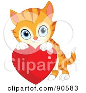 Royalty Free RF Clipart Illustration Of A Cute Orange Kitten Looking Over A Red Heart