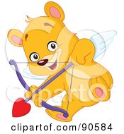 Royalty Free RF Clipart Illustration Of A Cupid Teddy Bear Shooting An Arrow