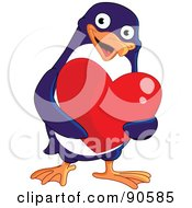 Royalty Free RF Clipart Illustration Of A Cute Blue Penguin Holding A Shiny Red Heart by yayayoyo
