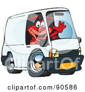 Friendly Red Dog Waving And Driving A White Delivery Van