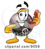 Clipart Picture Of An Eight Ball Mascot Cartoon Character Holding A Telephone by Toons4Biz
