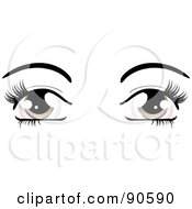 Royalty Free RF Clipart Illustration Of A Womans Brown Eyes Dressed Up With Dark Eyelashes And Eyebrows by elaineitalia