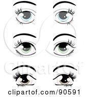 Royalty Free RF Clipart Illustration Of A Digital Collage Of Pairs Of Blue Green And Brown Eyes Dressed Up With Dark Eyelashes And Eyebrows by elaineitalia