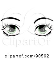 Royalty Free RF Clipart Illustration Of A Womans Green Eyes Dressed Up With Dark Eyelashes And Eyebrows by elaineitalia