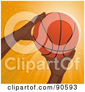 Black Mans Hands Reaching For A Basketball
