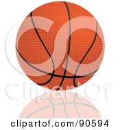 Royalty Free RF Clipart Illustration Of A Textured Basketball With Black Lines Over A Reflective White Background by elaineitalia