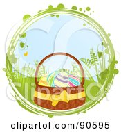 Royalty Free RF Clipart Illustration Of A Basket Of Colorful Easter Eggs In A Grungy And Vine Circle Over White by elaineitalia