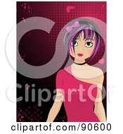 Royalty Free RF Clipart Illustration Of A Black Haired Manga Girl In A Pink Dress Over A Grungy Heart Background