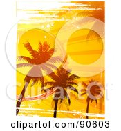 Royalty Free RF Clipart Illustration Of A Grungy Background Of An Orange Sunset And Palm Trees
