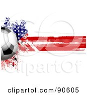 Royalty Free RF Clipart Illustration Of A Shiny Soccer Ball Over A Grungy Halftone American Flag by elaineitalia