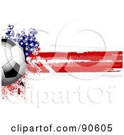 Royalty-Free (RF) Clipart Illustration of a Shiny Soccer Ball Over A Grungy Halftone American Flag by elaineitalia