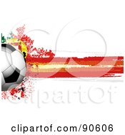 Royalty Free RF Clipart Illustration Of A Shiny Soccer Ball Over A Grungy Halftone Portugese Flag by elaineitalia