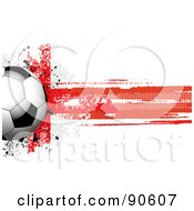 Royalty Free RF Clipart Illustration Of A Shiny Soccer Ball Over A Grungy Halftone English Flag