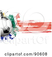 Royalty Free RF Clipart Illustration Of A Shiny Soccer Ball Over A Grungy Halftone South African Flag by elaineitalia