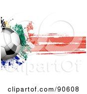 Royalty Free RF Clipart Illustration Of A Shiny Soccer Ball Over A Grungy Halftone South African Flag by elaineitalia