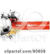 Royalty Free RF Clipart Illustration Of A Shiny Soccer Ball Over A Grungy Halftone German Flag by elaineitalia
