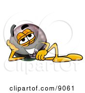 Clipart Picture Of An Eight Ball Mascot Cartoon Character Resting His Head On His Hand by Toons4Biz