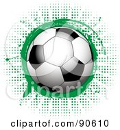 Royalty Free RF Clipart Illustration Of A Shiny Soccer Ball Over A Green Splatter On Halftone