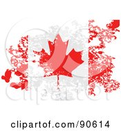 Royalty Free RF Clipart Illustration Of A Grungy Distressed Canadian Flag by elaineitalia