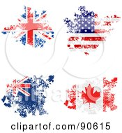 Royalty Free RF Clipart Illustration Of A Digital Collage Of Grungy Distressed Union Jack America Australian And Canadian Flags by elaineitalia