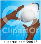 Black Mans Hands Reaching For A Rugby Football