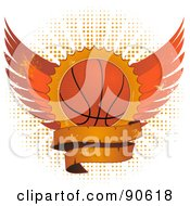 Royalty Free RF Clipart Illustration Of A Grungy Basketball Shield With Wings And A Blank Banner Over Halftone by elaineitalia