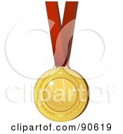 Royalty Free RF Clipart Illustration Of A Golden Basketball Medal On A Red Ribbon by elaineitalia