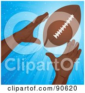 Royalty Free RF Clipart Illustration Of A Black Mans Hands Reaching For An American Football by elaineitalia