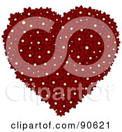 Royalty Free RF Clipart Illustration Of A Floral Heart Formed Of Deep Red Daisy Flowers