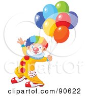 Royalty Free RF Clipart Illustration Of A Male Birthday Clown With Balloons