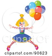 Royalty Free RF Clipart Illustration Of A Female Birthday Clown With Balloons