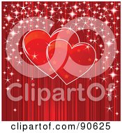 Pair Of Starry Red Hearts With Sparkles Over Red