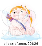 Cute Chubby Cupid Sitting On A Cloud And Holding Up A Bow