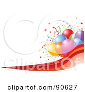 Royalty Free RF Clipart Illustration Of A Colorful Party Balloon Cluster With Confetti Over A Red Wave