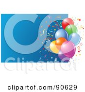 Royalty Free RF Clipart Illustration Of A Cluster Of Balloons And Confetti With A Blue Box And White Edges
