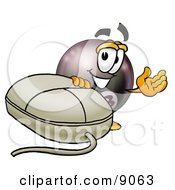 Clipart Picture Of An Eight Ball Mascot Cartoon Character With A Computer Mouse by Toons4Biz