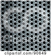 Royalty Free RF Clipart Illustration Of A Metal Mesh Grill With Holes Over Black
