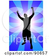 Royalty Free RF Clipart Illustration Of A Successful Male Silhouetted Over A Blue Burst by Arena Creative